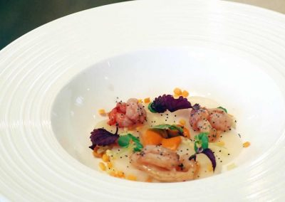 Bouillon Racine, Carpaccio of sea bass and scallops with truffle oil