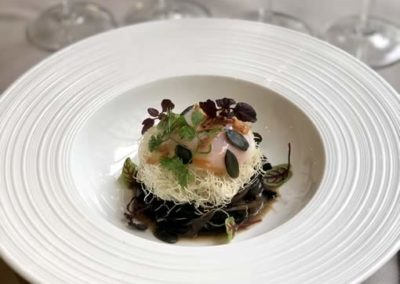 Bouillon Racine, Perfect egg with mushrooms, trumpets of the dead and Paris mushrooms, angel hair pasta
